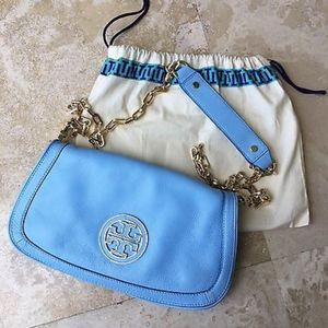 RARE Tory Burch Amanda Crossbody Logo Blue Purse